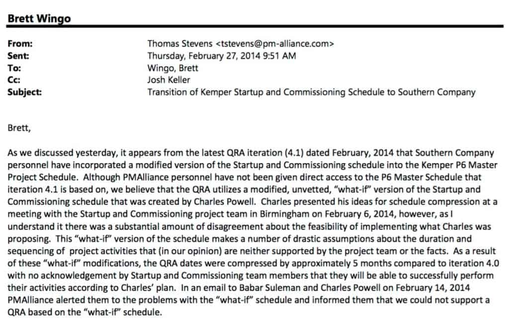 Email from Thomas Stevens to Wingo Feb 2014