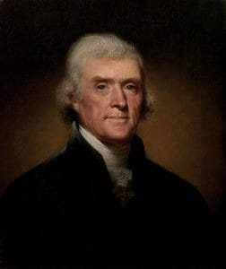 "A portrait of Thomas Jefferson, who once wrote that ""... the more ignorant we become the less value we set on science, and the less inclination we shall have to seek it."""