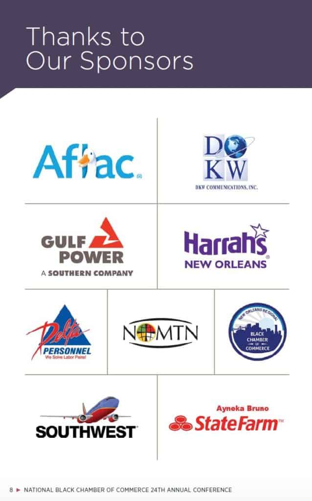 Sponsors of NBCC's annual convention in 2016