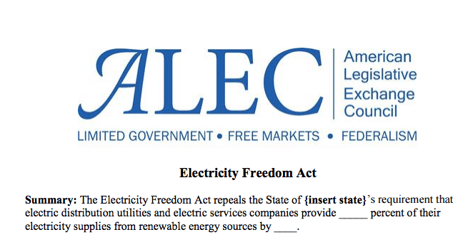 "A portion of the American Legislative Exchange Council's ""Electricity Freedom Act"" aimed at repealing state renewable energy standards."
