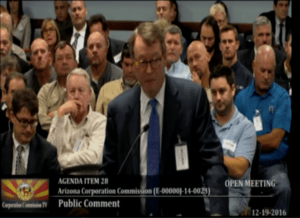 Phil Moeller of EEI testifies against the inclusion of rooftop solar benefits in rates at the Arizona Corporation Commission in December, 2016.